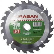 Диск пильный URAGAN 'Быстрый рез' по дереву, 190х20мм, 24Т