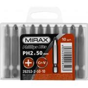 Биты MIRAX PH№2, тип хвостовика E 1/4', длина 50мм, 10шт